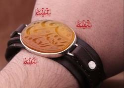 دستنبد مردانه   ((پشت نگین حرز کبیر آقا امام جواد (ع) روی پوست آهو ))